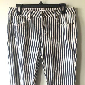 Blue and White Vertical Striped Jeans Forever 21